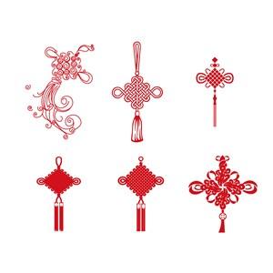 6款红色喜庆中国结矢量素材