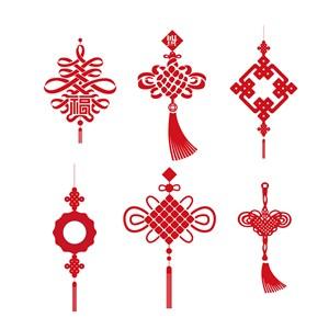 中式传统节日素材矢量中国结素材