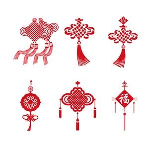 中国风素材喜庆素材6款精美的中国结矢量素材