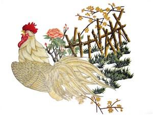 白色公鸡皮影戏中国风图片