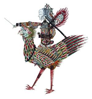 骑着怪鸟皮影戏中国风图片