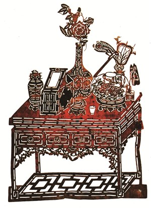 花瓶木桌皮影戏中国风图片