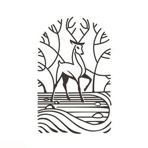 树林鹿标志图标酒店旅游矢量logo素材