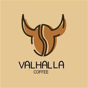 咖啡豆牛角标志图标餐饮食品矢量logo设计素材