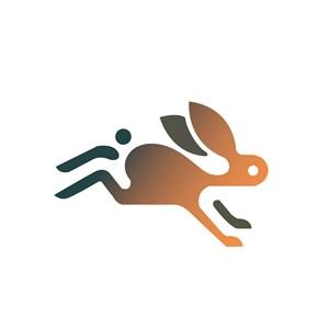 渐变兔子图标服饰时尚矢量logo设计素材