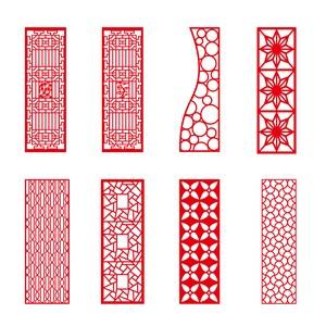 8种中式古典门窗花纹边框矢量素材