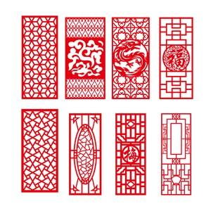吉祥图案吉祥花纹龙纹门窗雕花图案矢量边框花纹素材