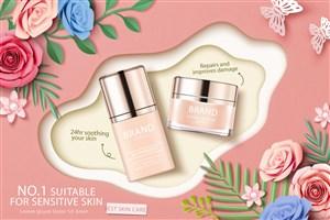 玫瑰花天然护肤品品牌广告海报模板
