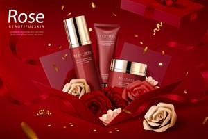 高档红色礼盒护肤品品牌广告海报模板