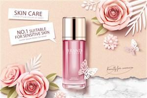 粉色玫瑰花朵背景天然护肤品品牌广告海报模板