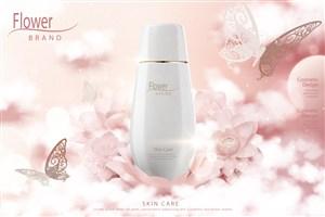温馨花朵纯白天然护肤品品牌广告海报模板
