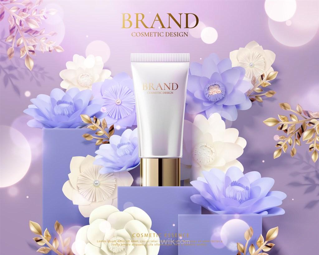 淡紫花朵背景天然护肤品品牌广告海报模板