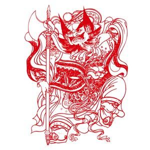 中国风拿大斧的门神矢量素材