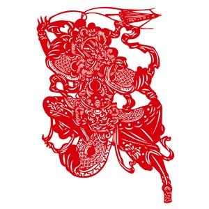 吉祥图案剪纸图案矢量中国风门神素材