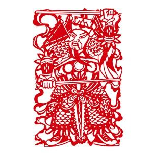 中国风元素剪纸图案矢量门神素材