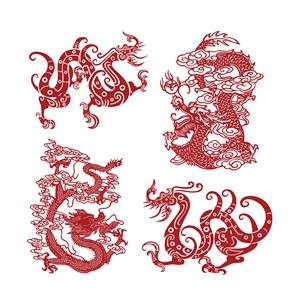 中国风吉祥图案龙纹矢量素材