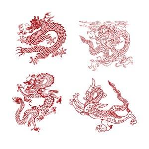 4种中国风龙纹吉祥图案矢量素材
