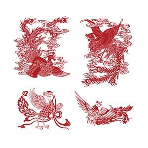 凤凰纹样中国风吉祥鸟图案矢量素材