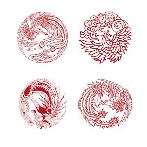 中国风吉祥图案凤凰纹样剪纸矢量素材