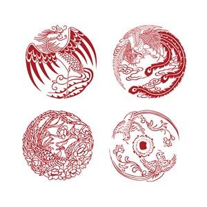 圆形凤凰纹样中国风吉祥鸟剪纸矢量素材