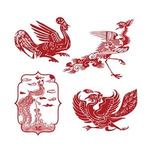 中国风凤凰纹样吉祥图案剪纸素材