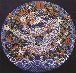 紫色古代龙凤刺绣中国风图片