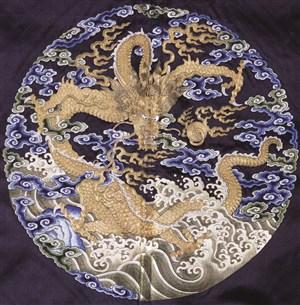 古代龙凤刺绣中国风图片