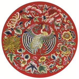 红色凤凰古代龙凤刺绣中国风图片