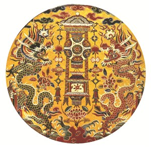 金黄色布帛五爪蛟龙古代龙凤刺绣中国风图片