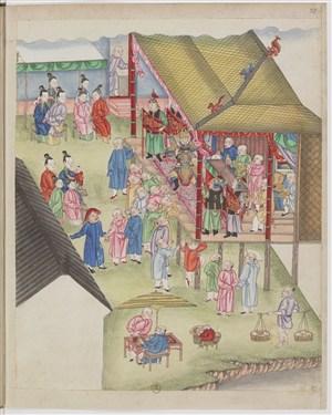 古代清朝家族内唱戏制茶茶艺场景绘画图片