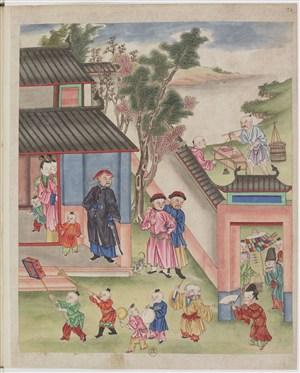 古代农民儿童制茶茶艺场景绘画图片