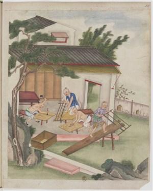 古代木工锯木制茶茶艺场景绘画图片