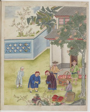 古代古人互相鞠躬制茶茶艺场景绘画图片