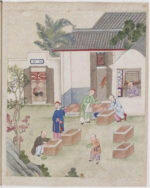 高清古代制茶茶艺场景绘画图片