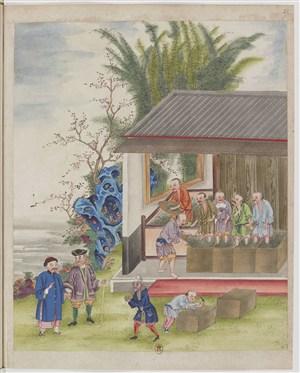 古代制茶把茶叶封装起来茶艺场景绘画图片