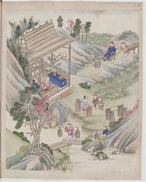 古代官老爷来看茶制茶茶艺场景绘画图片