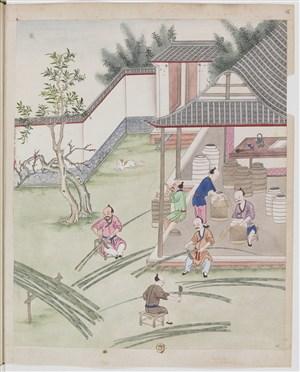 古代砍竹切竹制作篮子制茶茶艺场景绘画图片