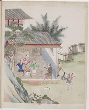 古代制茶封茶茶艺场景绘画图片