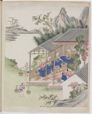 古代制茶炒茶茶艺场景绘画图片