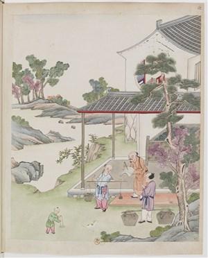古代制茶茶艺称斤称茶场景绘画图片