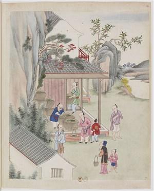 古代夫人买茶茶艺场景绘画图片
