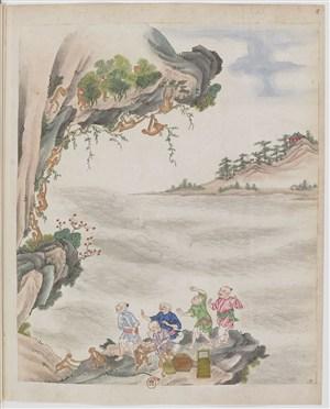 古代猴山制茶茶艺场景绘画图片
