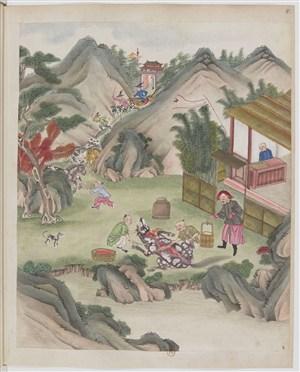 古代杀畜牲场景绘画图片