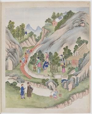 古代制茶采茶茶艺场景绘画图片
