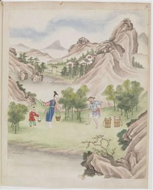 古代种茶浇花制茶茶艺场景绘画图片