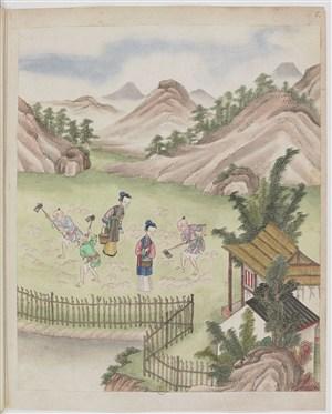 古代种地种茶制茶茶艺场景绘画图片