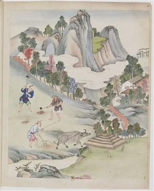古代耕牛种地制茶茶艺场景绘画图片