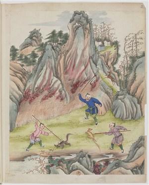 古代开山耕种制茶茶艺场景绘画图片