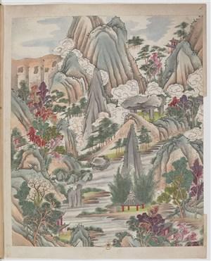 山水高清古代制茶茶艺场景绘画图片
