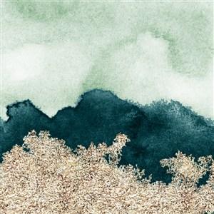绿色水彩晕染金箔纹理背景图片